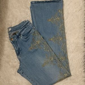 Light Wash Cache Jeans w/Gold Design sz 8